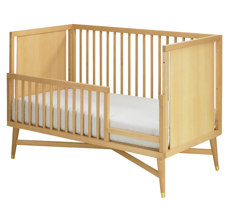 mid century convertible crib in natural by dwellstudio