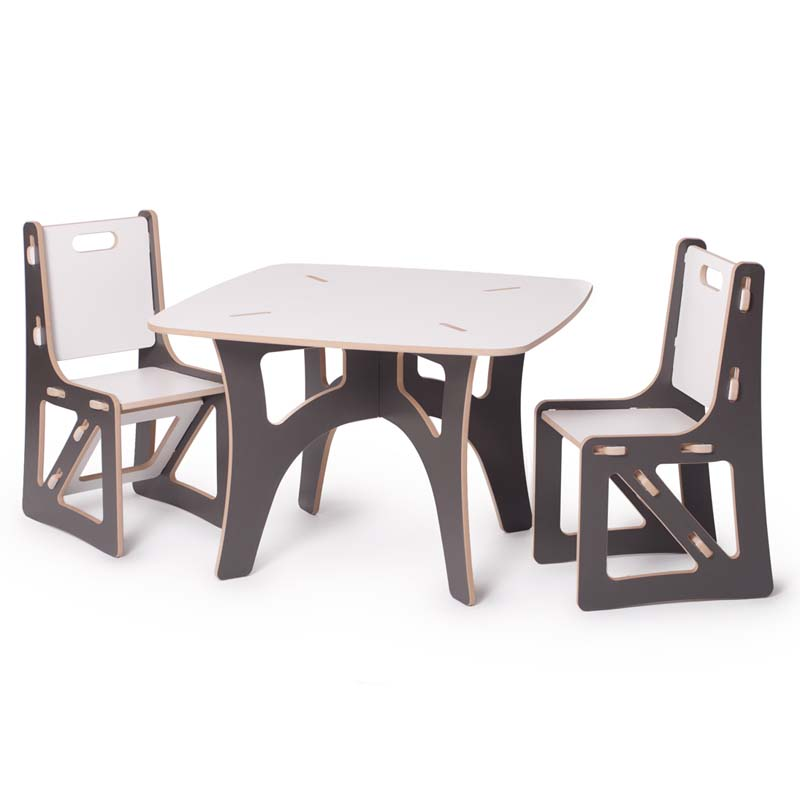 modern grey and white kids table and chair set by sprout kids