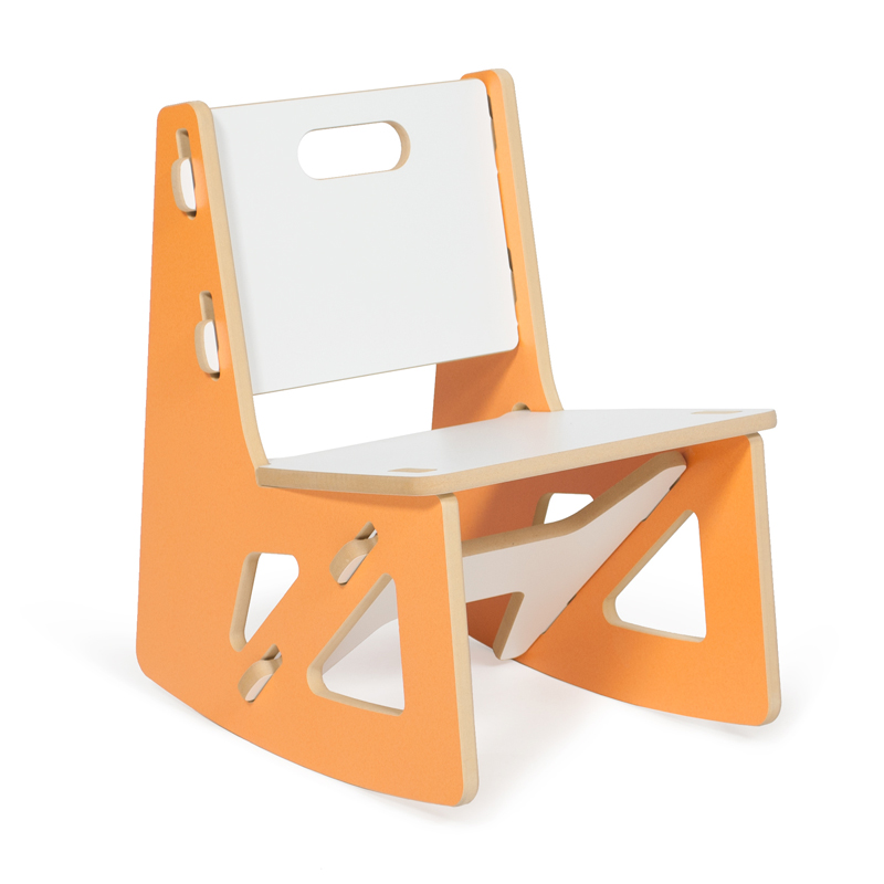 Modern orange and white kids rocking chair by sprout kids for Orange kids chair
