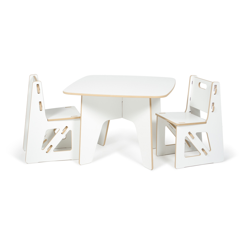 modern white kids table and chair set by sprout kids. Black Bedroom Furniture Sets. Home Design Ideas