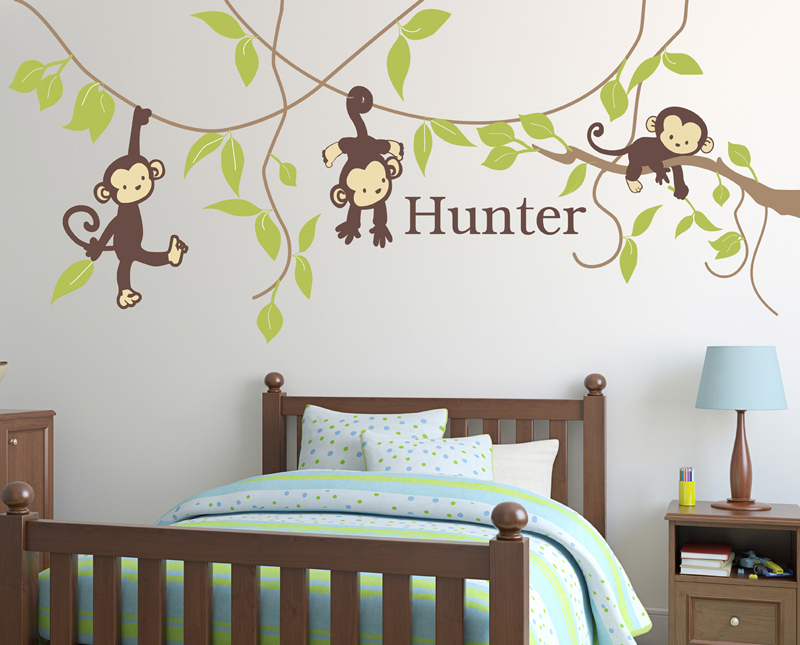 monkey around fabric wall decal by alphabet garden designs. Black Bedroom Furniture Sets. Home Design Ideas