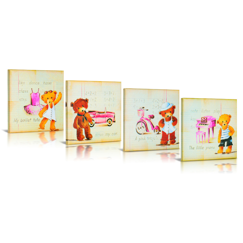 my teddy bear canvas wall art set of 4 by green frog baby. Black Bedroom Furniture Sets. Home Design Ideas