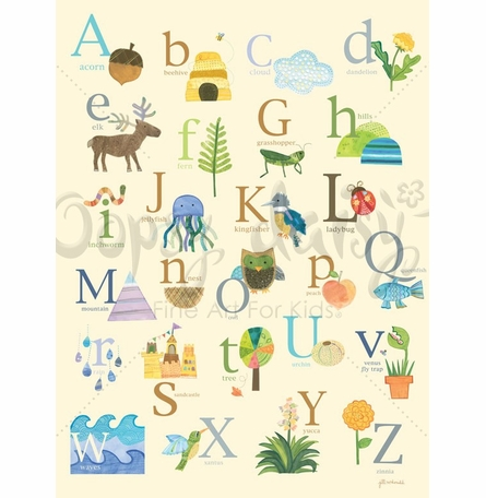 Nature 39 s alphabet mural wall decal by oopsy daisy for Alphabet wall mural