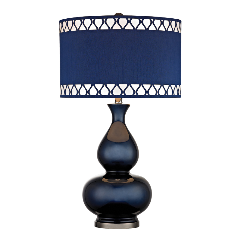 Navy blue gourd table lamp with laser cut trim shade for Floor lamp with navy blue shade