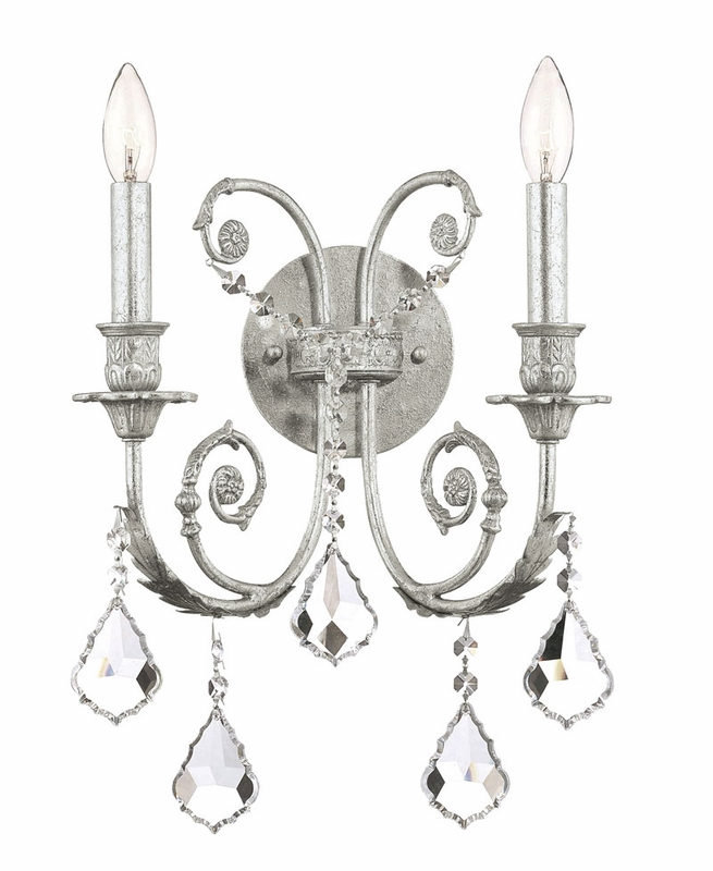 olde silver wrought iron double wall sconce