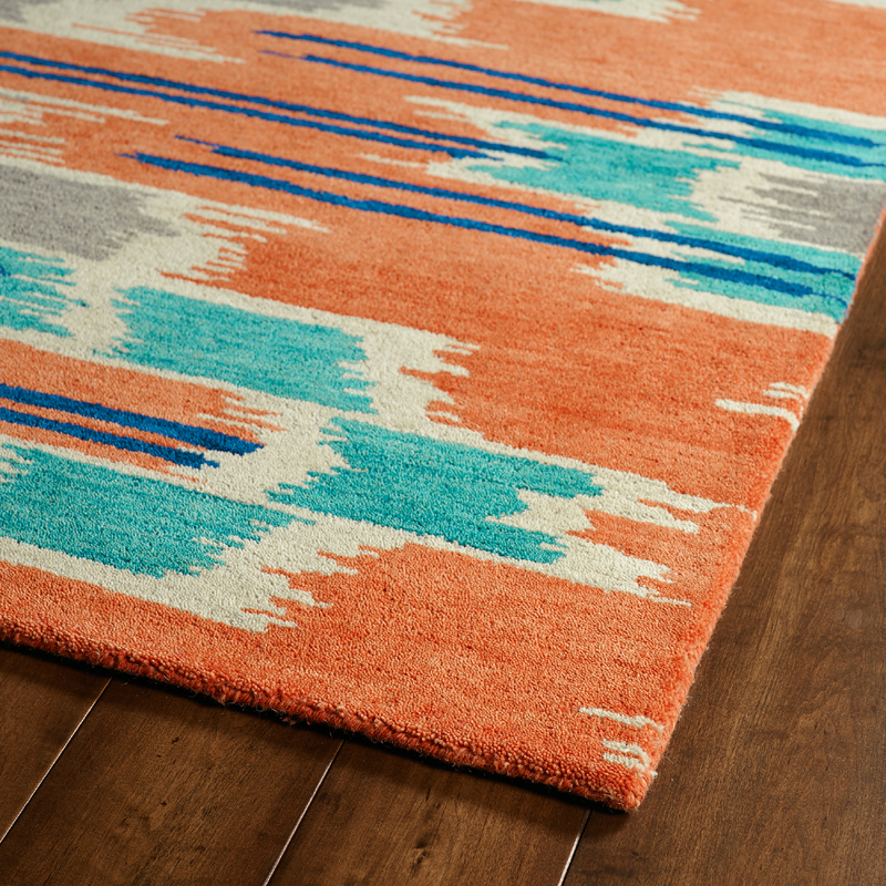 orange and blue global inspirations rug. Black Bedroom Furniture Sets. Home Design Ideas