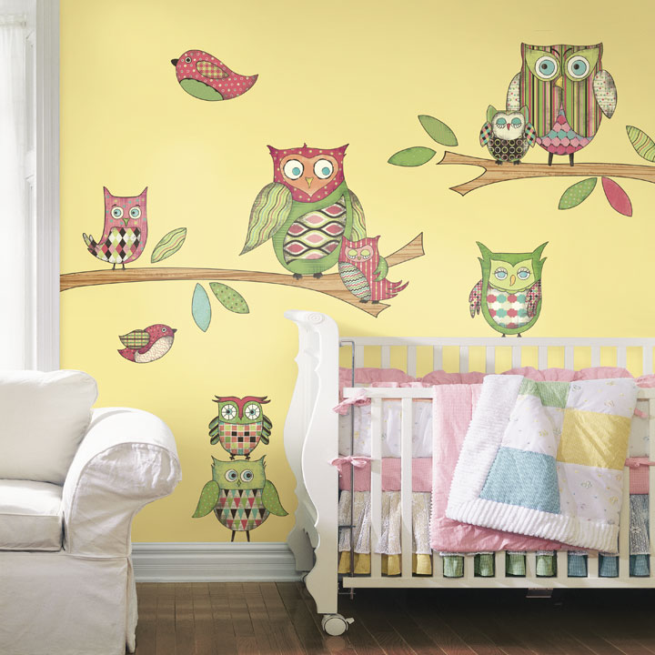 Owl Peel And Stick Wall Mural In Pink