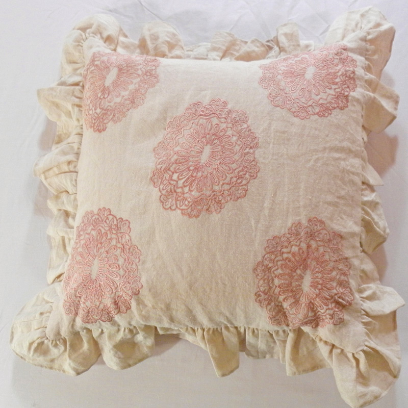 Oyster Linen Throw Pillow with Pink Floral Embroidery by Davenport