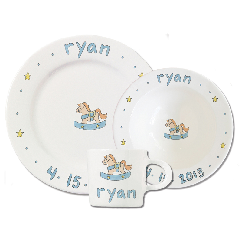 Personalized Baby Gift Baskets Rocking Horse : Personalized blue baby rocking horse ceramic dish set by