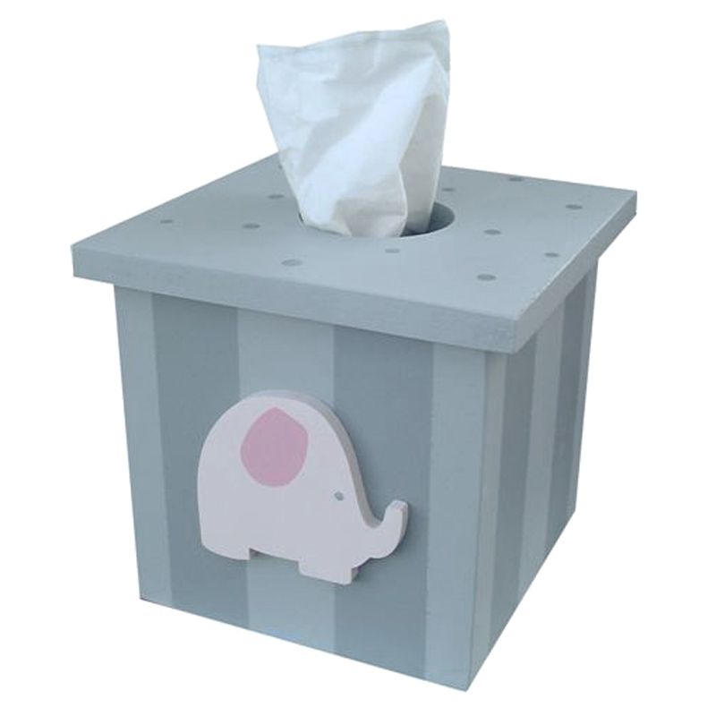 Pink And Grey Elephant Tissue Box Cover By Wish Upon A Star
