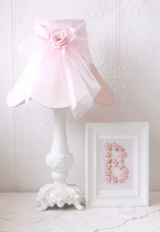 Pink Dupioni Silk and Tulle Table Lamp RosenberryRooms