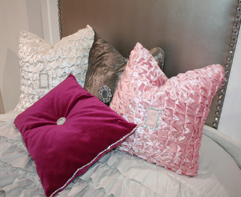 Pink Beaded Decorative Pillow : Pink Shear Elegance Beaded Throw Pillow by Totten & Chic