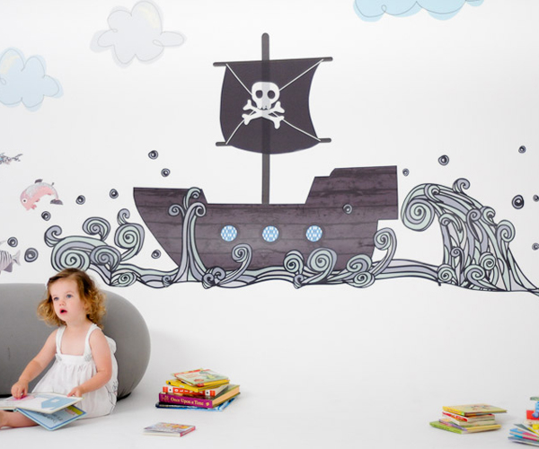 pirate boat fabric wall decals by pop lolli. Black Bedroom Furniture Sets. Home Design Ideas