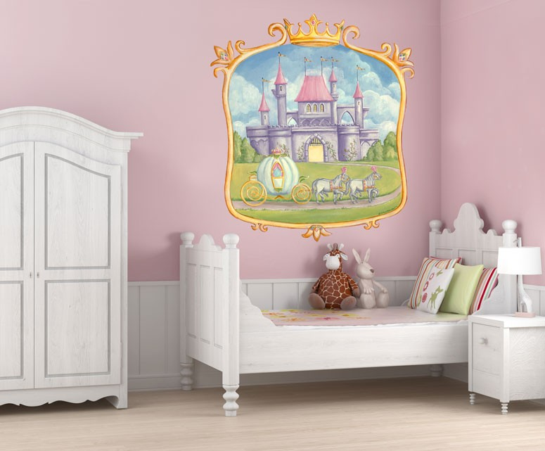 Pretty princess castle mural wall decal by oopsy daisy for Castle wall mural sticker
