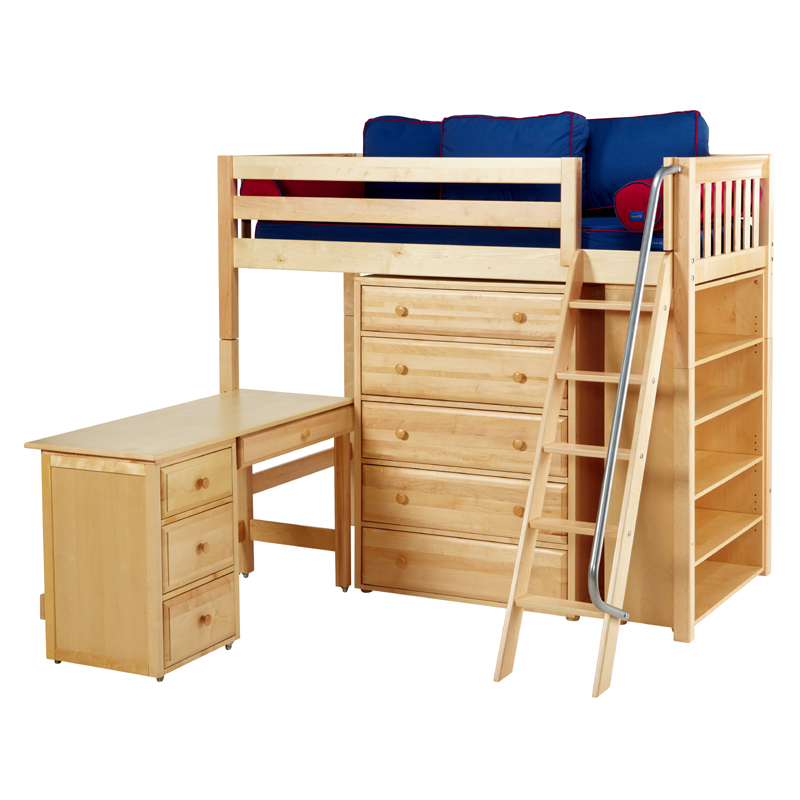 emperor twin high loft bed with bookcase and desk. Black Bedroom Furniture Sets. Home Design Ideas