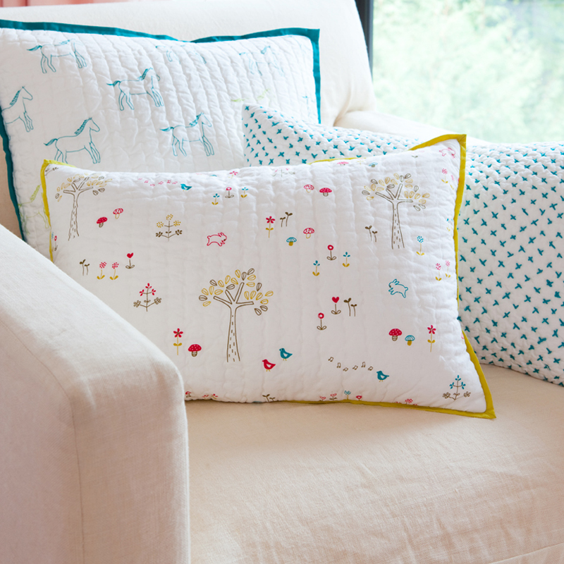 Rabbit Patch Decorative Quilted Pillow Cover by Little Auggie