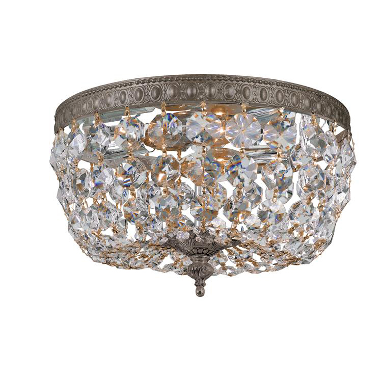 richmond two light clear crystal bronze flush mount by