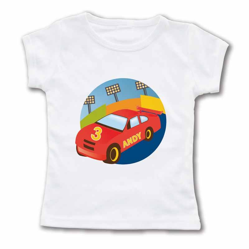 Roaring race car personalized t shirt for Racing t shirts custom