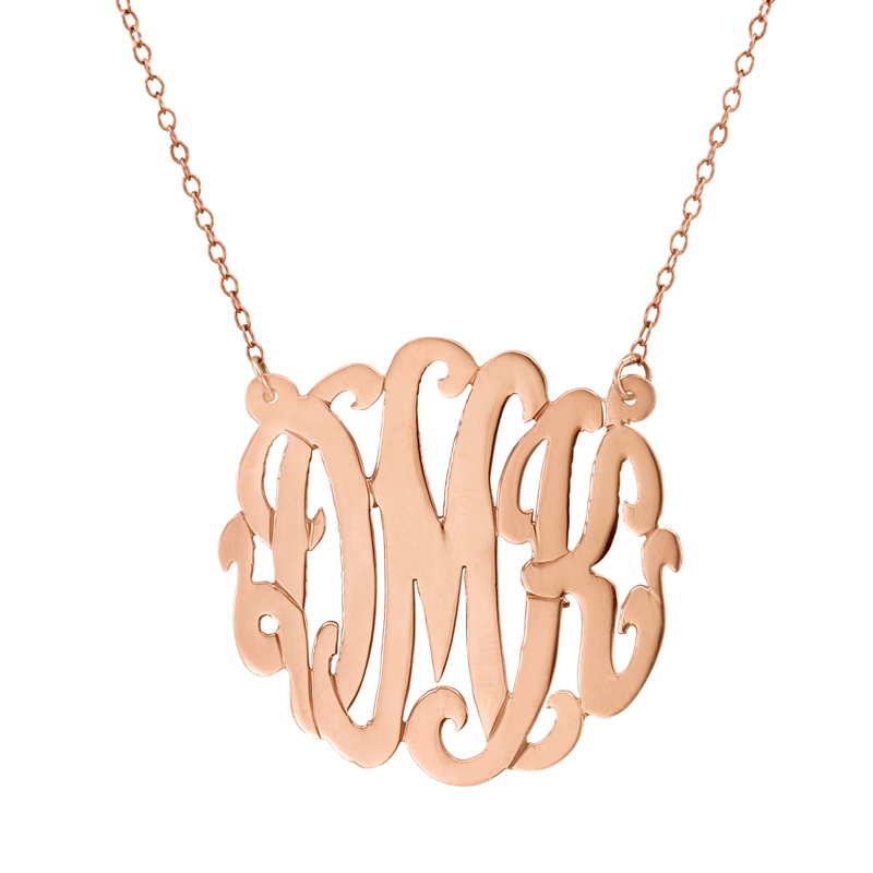 Rose gold monogram necklace script for Rose gold personalized jewelry