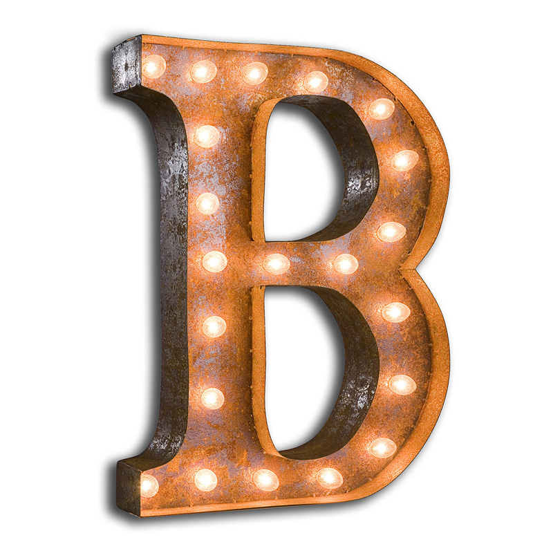 Rusty 24 inch letter b marquee light by vintage marquee lights for B marquee letter