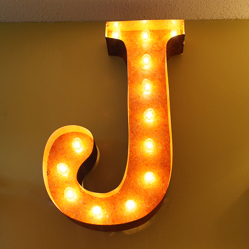 rusty 24 inch letter j marquee light by vintage marquee lights. Black Bedroom Furniture Sets. Home Design Ideas