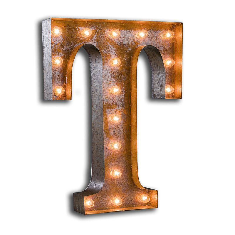 rusty 24 inch letter t marquee light by vintage marquee lights With 24 inch marquee letters