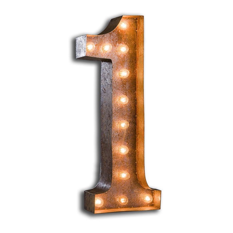 Rusty 24 Inch Number 1 Marquee Light by Vintage Marquee Lights