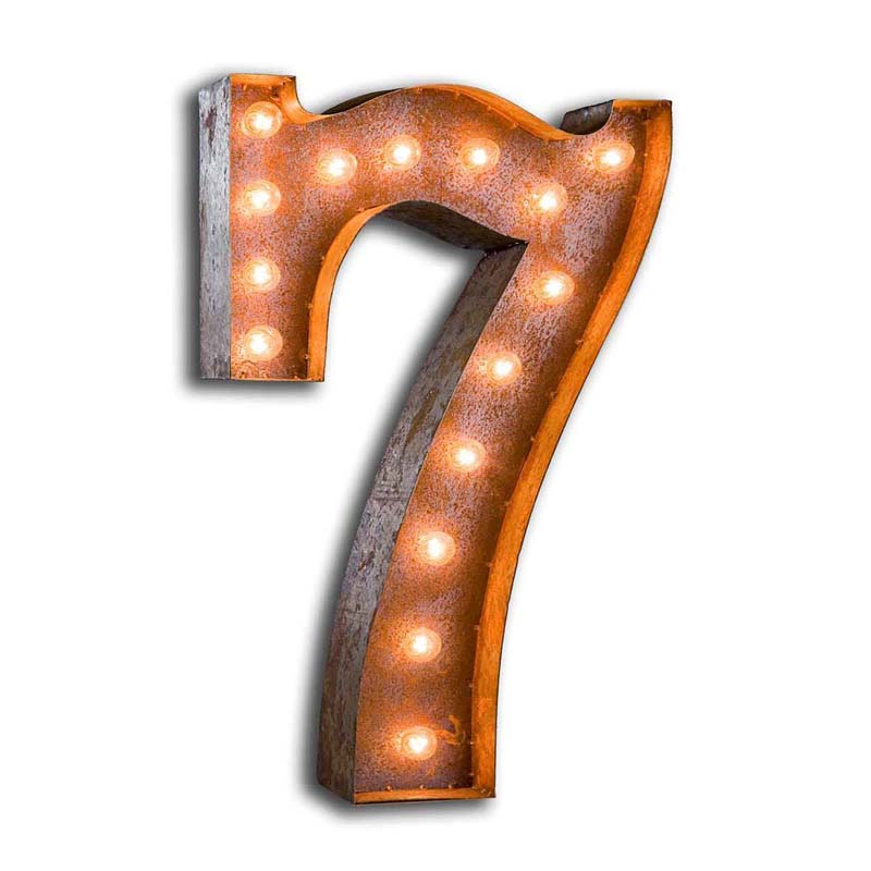 rusty 24 inch number 7 marquee light by vintage marquee lights