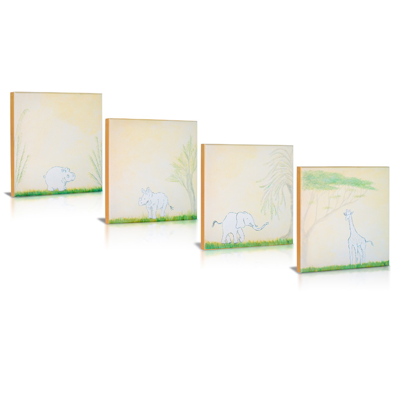 safari sidekicks canvas wall art set of 4 by green frog baby. Black Bedroom Furniture Sets. Home Design Ideas