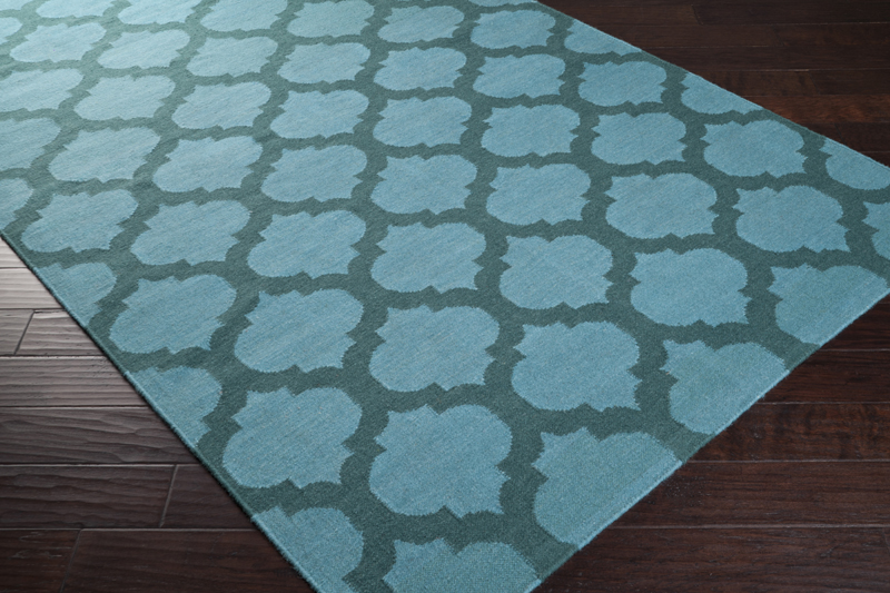 sea blue and teal green trellis frontier rug by surya