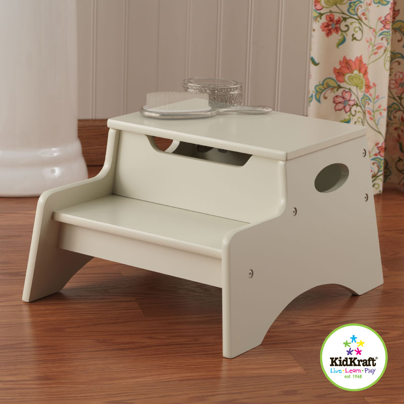 step stool with storage in vanilla by kidkraft. Black Bedroom Furniture Sets. Home Design Ideas