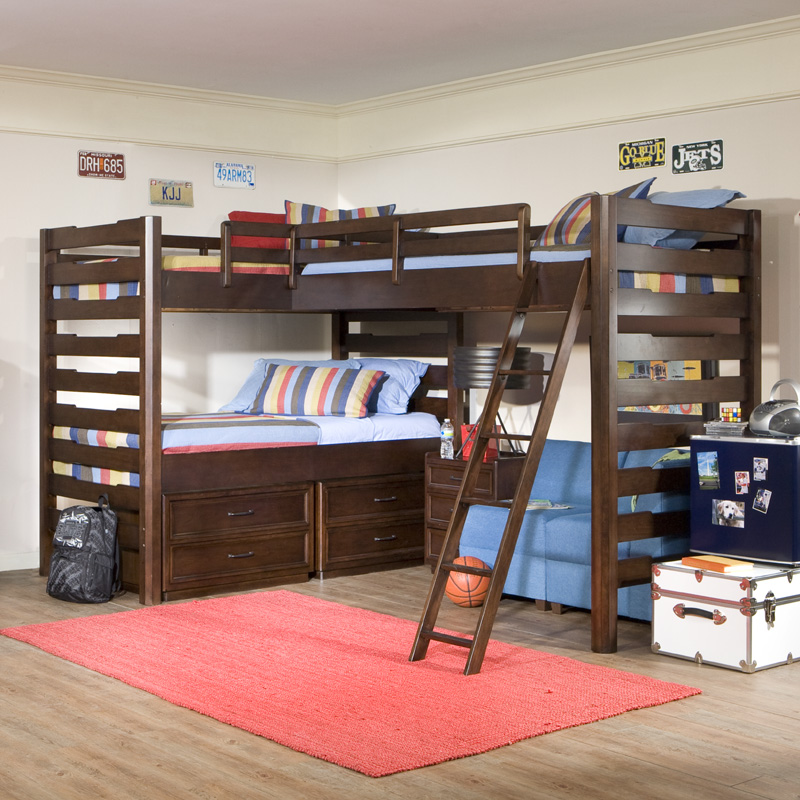 Studio triple corner loft bed for Three bed