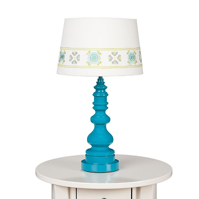 teal spindle table lamp base by lolli living