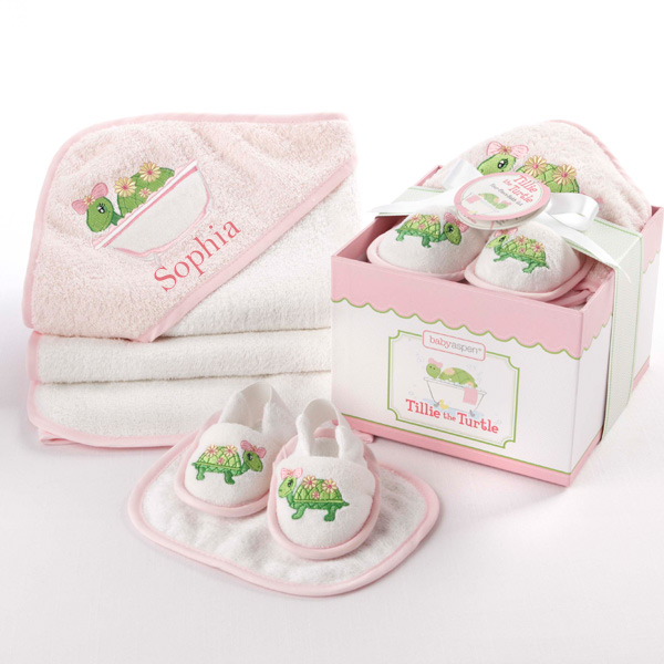 Baby Gift Bath Sets : Tillie the turtle four piece hatbox bath time gift set by