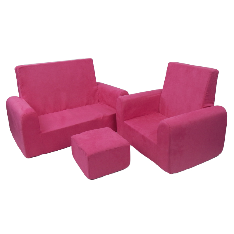 Toddler Sofa Chair And Ottoman Set In Hot Pink Microsuede