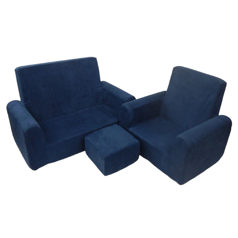 Toddler sofa chair and ottoman set in navy blue microsuede for Navy blue chair and ottoman