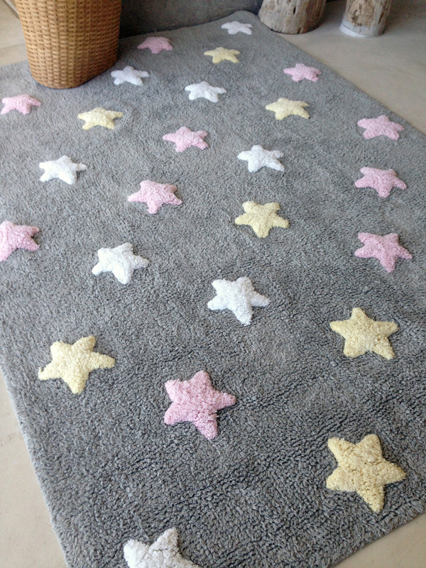 tricolor stars cotton rug in grey and pink by lorena canals. Black Bedroom Furniture Sets. Home Design Ideas