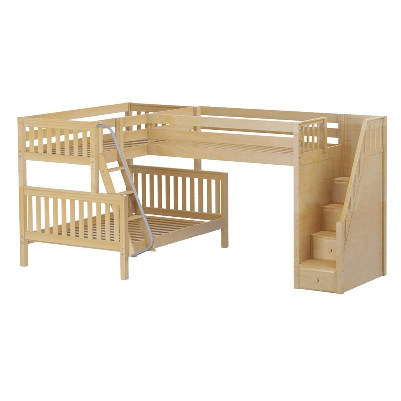 Triology corner loft twin over full bunk bed with staircase for Furniture 123 bunk beds
