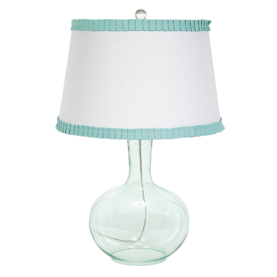 Turquoise Clear Base Lamp With White Shade And Turquoise Trim