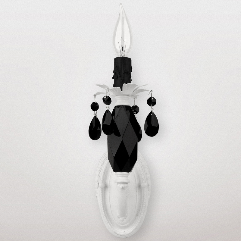 Black Crystal Wall Sconces : Venus Matte White Black Crystal Wall Sconce by Maura Daniel