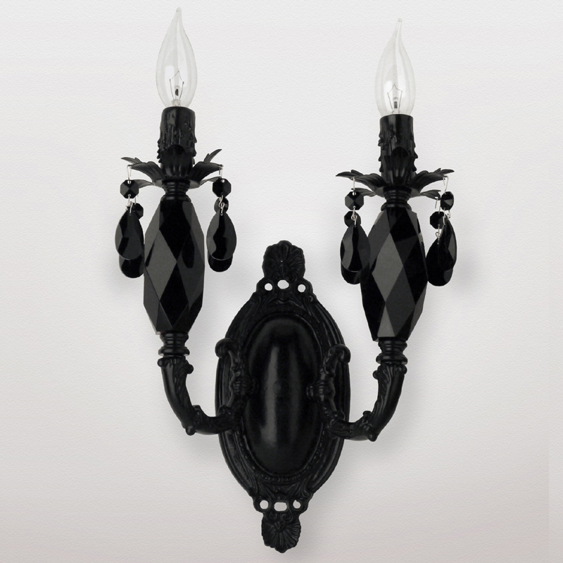 Black Crystal Wall Sconces : Venus Satin Black Crystal Double Wall Sconce by Maura Daniel