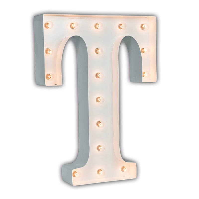White 24 Inch Letter T Marquee Light by Vintage Marquee Lights