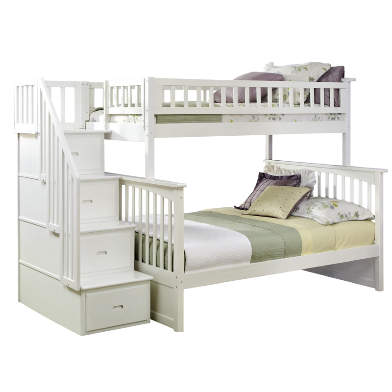Uye Home White Bunk Beds With Stairs