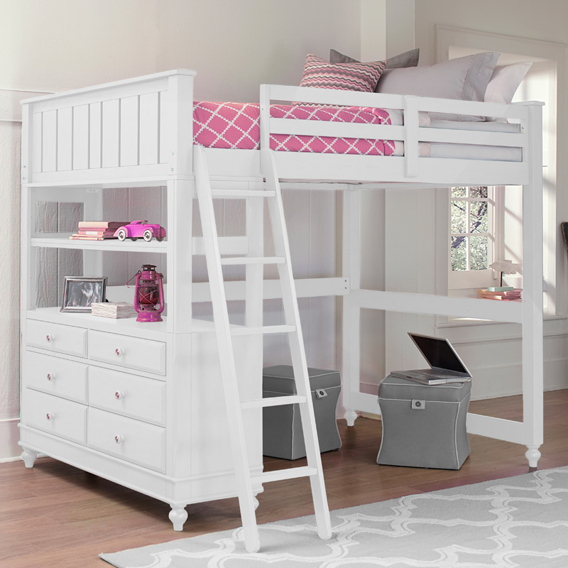white lake house loft bed
