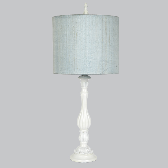 White large lotus base lamp with blue drum shade by for Lotus floor lamp white