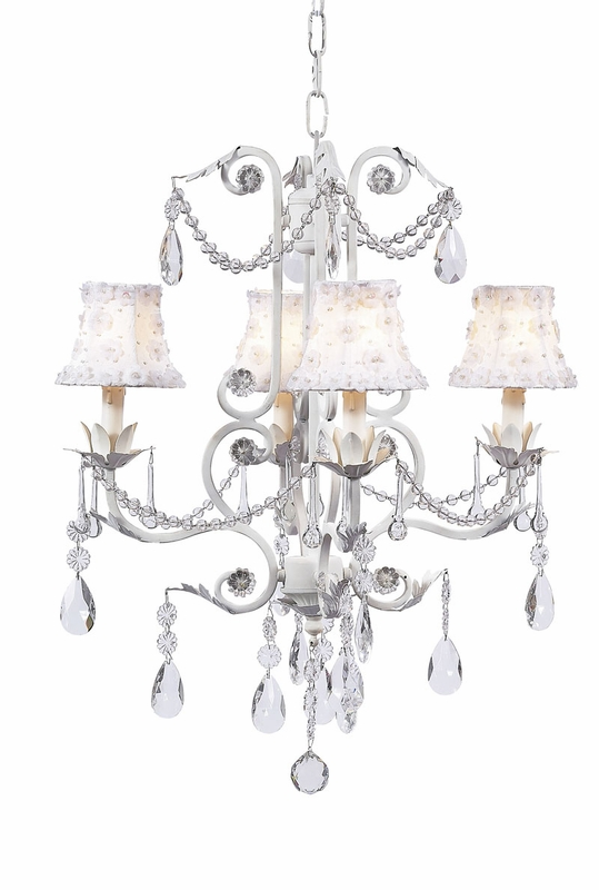 White petal flower chandelier shades on the white 4 arm valentino chandelier - White chandelier with shades ...