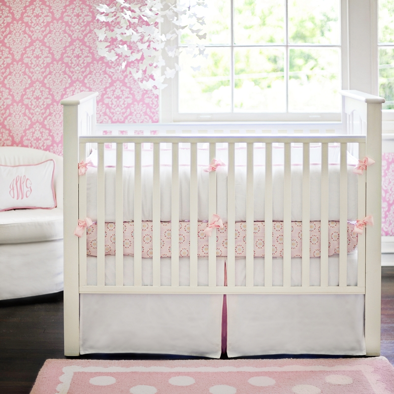 White pique crib bedding in pink by new arrivals inc Baby girl bedding