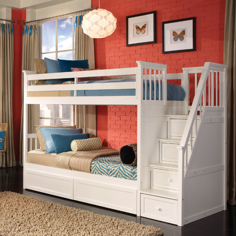 White school house stair twin bunk for Bunk beds for kids with stairs