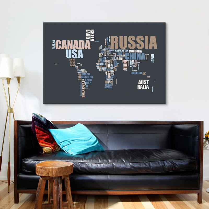 Canvas wall art with words elitflat world map in words canvas wall art rosenberryroomscom gumiabroncs Image collections