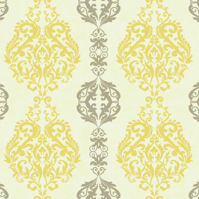 Yellow and gray damask stripe wallpaper - Gray and yellow wallpaper ...